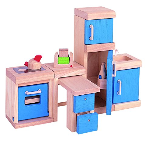 ... Doll House Kitchen. Great Size For Littler Hands. This Set Is  Compatible With The PlanToys Dollhouses. The Neo Kitchen Is Natural And  Blue In Color.
