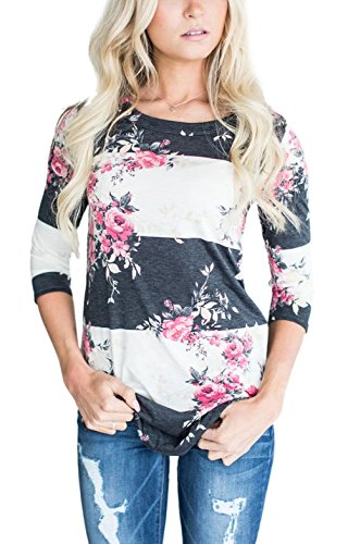 ec216469a86e72 Asvivid Women s Round Neck Floral Print 3 4 Sleeve Tunic Blouse Casual  Striped Tunic Tops Large Pink