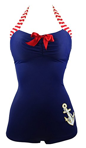 f29620ccbd882 ... XXX-Large:US12-14XXXLCocoship 50s Retro Navy Blue Vintage One Piece  Maillot Anchors Away SwimsuitFBA;A classic vintage one piece swimsuit ...