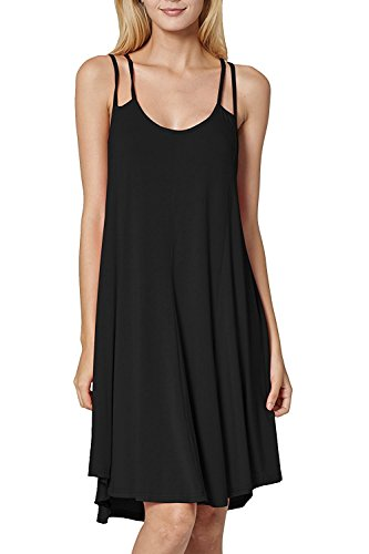 f4422090db Basic spaghetti Strap Cami Tank Tunic Dress. Model is wearing a size small.  Package content: 1 x Women Dress. We strive to make our colors as accurate  as ...