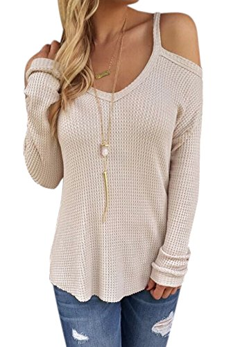 74cf2bafe3b028 ... Top Cold Shoulder Long Sleeves Blouse Pullover. Kindly pay attention  that different colors have different sizes. Material  polyester