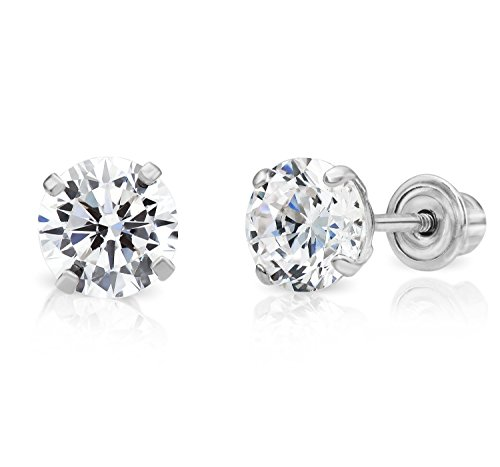 cb1d60e42 14k White Gold Solitaire Cubic Zirconia CZ Stud Earrings with Secure  Screw-backs